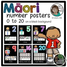 Maori Number Posters 0 to 20 on a black background by The Inspired Kiwi | Teachers Pay Teachers Number Posters, Bright Pictures, Games For Kids, Kiwi, Black Backgrounds, Numbers, Classroom, Inspired, Maori