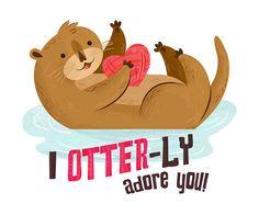 Otter Valentine by Alyssa Nassner Love Puns, Funny Love, Cute Love, Punny Puns, Puns Jokes, Memes, My Funny Valentine, Valentines Puns, Valentine Ideas
