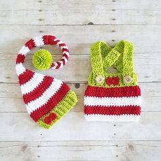 Crochet Baby Christmas Striped Girl Bow Elf Hat Beanie Skirt Overall Set Handmade Photography Photo Prop Baby Shower Gift Present