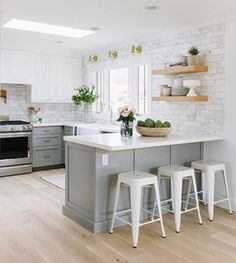 This kitchen just got a major overhaul and you can see the before/afters in our newest webisode on our YouTube channel! I love this gray+marble+wood combination so much.  {All the kitchen accessories are from #mcgeeandco} :@jessicawhitephoto #emersonproject