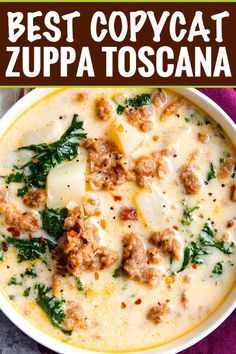 The BEST copycat zuppa toscana soup, made with spicy crumbled sausage, silky potatoes, and an ultra creamy broth. Bacon and kale put the finishing touch on this Olive Garden copycat recipe! BEST Copycat Zuppa Toscana Recipe - The Chunky Chef recipe soup Crock Pot Recipes, Best Soup Recipes, Yummy Recipes, Cooking Recipes, Healthy Recipes, Healthy Soup, Vegetarian Soup, Italian Soup Recipes, Creamy Soup Recipes