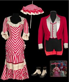 "Outfits from ""Show Boat"" (1951). Designed by Walter Plunkett. Red and ivory striped period dress with matching parasol. Black and white leather button-up period boots with black fringe. Dark red wool cutaway coat with grey satin lapel and coordinating vest. Worn by Marge Champion as ""Ellie May Shipley"" and Gower Champion as ""Frank Schultz"" in the ""I Might Fall Back on You"" number in Show Boat."