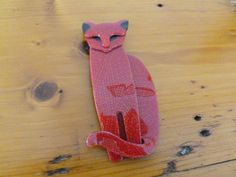 Vintage Lea Stein Quarrelsome Cat Brooch Red and Black French Designer by…