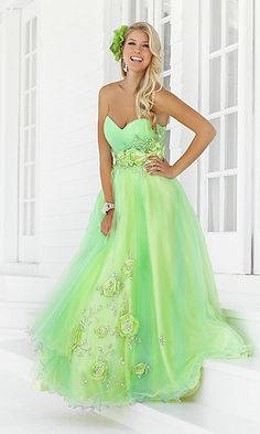 Long Strapless Green Formal Dress by Blush at PromGirl.com