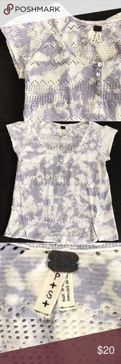 Free People Laser-cut Tee We The Free | Free People Henley Tee. White and Purple acid wash/ tie dye. Laser cut hole design. Cap sleeve. Excellent condition. Size P|Small. Tags: girly, boho, classy, chic, chill Free People Tops Tees - Short Sleeve