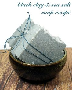 Black Clay Soap Recipe with Sea Salt! This natural black clay and sea salt soap recipe is made using Australian black clay and fine sea salt for a luxurious spa like experience in the shower! Handmade Soap Recipes, Soap Making Recipes, Handmade Gifts, Deli News, Sea Salt Soap, Natural Beauty Recipes, Natural Recipe, Soap Making Supplies, Black Clay