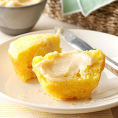 Homemade Corn Muffins with Honey Butter Recipe -I turn classic corn bread muffins into something special by serving them with a honey butter. They're gone in a flash! —Suzanne McKinley, Lyons, Georgia