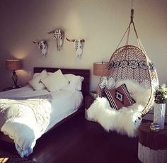 sheepskin, macramé, crochet, white, wood, #boho #gypsy #love
