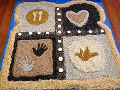 "Mandala in shape of bread made out of birdseed. During worship, people collected a bag of birdseed to take home and feed the ""world"""