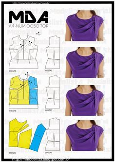 Portuguese site will illustration showing how to alter a standard bodice pattern to create this draped pleated top