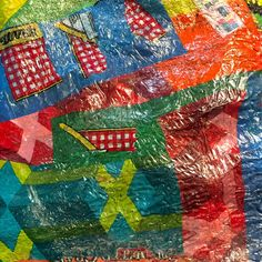 More fun with fused plastic bags! Reuse Plastic Bags, Fused Plastic, Melted Plastic, Plastic Art, Art From Recycled Materials, Recycled Crafts, Diy Crafts, Plastic Texture, Textiles Sketchbook