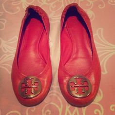 Tory Burch Flats These are girls size 3.  Worn lightly. The only sign of wear is shown on picture and is on inside of heel so it's not noticible when wearing. Tory Burch Shoes Flats & Loafers