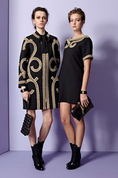 PRE-FALL 2013  Moschino /   Moschino reports that the Costume Institute has come calling for archive pieces for the museum's upcoming Punk: Chaos to Couture exhibition. Unlike many other brands, who are using the show as an excuse to trot out the tartans, Rossella Jardini and co. opted not to explore that part of the house's heritage for pre-fall. Moschino is about to celebrate its thirtieth anniversary; there's a lot of history to dig into.