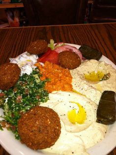 Vegetable platter from Oasis Food Market in Oakland, CA. Who new vegetarian food could be so tasty? This place is fantastic! Family run shop and restaurant by honest hard working middle eastern family. Their food is delicious!