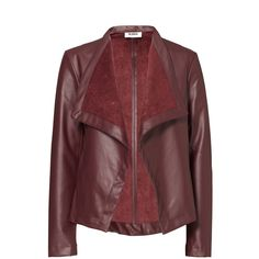 Rental BB Dakota Burgundy Lillian Faux Leather Jacket ($30) ❤ liked on Polyvore featuring outerwear, jackets, dresses, red, red jacket, vegan leather jacket, red faux leather jacket, synthetic leather jacket and long sleeve jacket