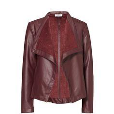 Rental BB Dakota Burgundy Lillian Faux Leather Jacket ($30) ❤ liked on Polyvore featuring outerwear, jackets, dresses, red, vegan jacket, fake leather jacket, red jacket, vegan leather jacket and synthetic leather jacket