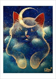 Little Moon by Raphael Vavasseur I Love Cats, Crazy Cats, Cute Cats, Art And Illustration, Illustrations, Fantasy Kunst, Fantasy Art, Moon Art, Cat Drawing