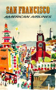 San Francisco, California - American Airlines vintage travel poster