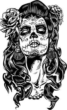Sugar Skull Girl Tattoo, Sugar Skull Art, Skull Tattoos, Girl Tattoos, Sleeve Tattoos, La Muerte Tattoo, Calavera Tattoo, Crane, Calaveras Mexicanas Tattoo