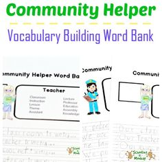 Want to increase your child's vocabulary, improve penmanship, and learn about community helpers? You just need this community helpers vocabulary printable!