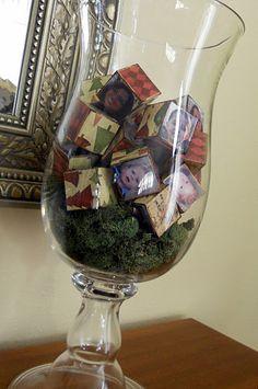 photo blocks as vase filler