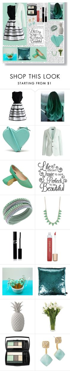"""Mint Touch"" by egordon2 ❤ liked on Polyvore featuring Chicwish, Christopher Kane, J.Crew, Swarovski, Pink Mascara, Sisley Paris, Jane Iredale, Aviva Stanoff, Bloomingville and NDI"