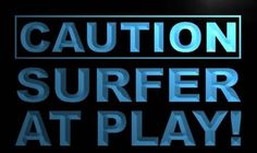 Caution Surfer at Play Neon Light Sign