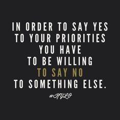 priorities.