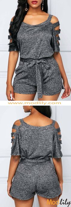 The Grey Belted Top and High Waist Shorts look can be worn in a preppy, rocker or urban style. The grey romper is the best, from picnics on the lawn to visiting local museums and concerts. Trendy Clothes For Women, Trendy Dresses, Trendy Outfits, Fall Outfits, Summer Outfits, Cute Outfits, Fashion Outfits, Womens Fashion, Fashion Trends