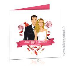 Faire-part de mariage gourmandise bonbon candy bar - wedding invitation card save the date © www.studio-postscriptum.fr