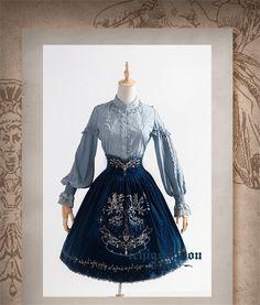 The Splendor of Gold&Siliver Tree ~Classic Embroidery Lolita High Waist Fishbone Skirt -Short Version/Long Version Pre-order $77.99 - My Lolita Dress