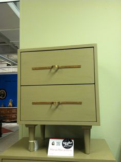 @ChelseaTextiles mid-century modern two-drawer Bedside Table in a streamlined silhouette with clean linear brass loop pulls @Daphne Brickhouse Point Market Style Spotters Oct. 2013 #Hpmkt