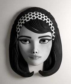 Domino James Bond,60s Fashion polka dot hairstyle art sculpture