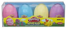 Use plastic Easter eggs to store play dough. This makes a great Easter basket item for kids of all ages!