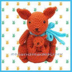 Mummy Kangaroo and Baby Kangaroo Amigurumi Crochet Pattern by HandmadeKitty. Pattern available for purchase here: http://www.etsy.com/listing/97521606/mommy-kangaroo-and-baby-kangaroo