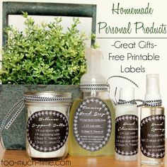 Homemade Personal Product Recipes and Free Labels