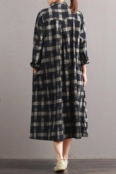 Linen Plaid Casual Loose Shirt Dress,Winter Long Shirt for Women – Fantasy… – Linen Dresses For Women Linen Dresses, Women's Dresses, Dress Outfits, Long Shirt Dress, The Dress, Dress Skirt, Plaid Fashion, Fashion Outfits, Women's Fashion