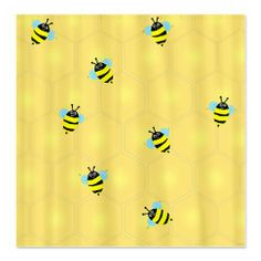 """""""Bees Buzzing (sc)"""" Shower Curtain. This honeycomb is full of happy busy bees! Silly looking bees, happy and fluttering their blue wings. #ShowerCurtain #Bee #Buzzing"""