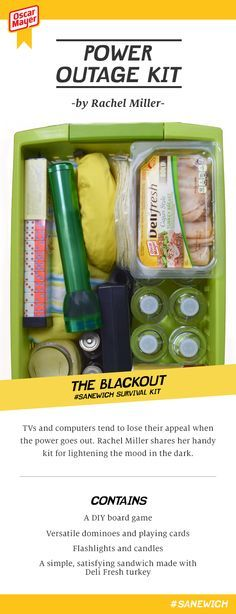 TVs and computers tend to lose their appeal when the power goes out. Rachel Miller shares her handy kit for lightening the mood in the dark. Contains: A DIY board game, coloring books, bouncy balls, bubbles, a simple, satisfying sandwich made with Deli Fresh turkey