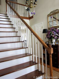 My Foyer Staircase Makeover Reveal -take off carpet and then stain Home Diy, Staircase Makeover, Home Improvement Projects, Home Improvement, Thrifty Decor, Diy Staircase, Home Decor, Diy Staircase Makeover, Wood Stairs