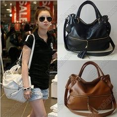 New Lady Korean Hobo PU Tassel Leather Handbag Shoulder Bag Large Capacity c19696c4c56a2
