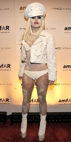 LOOK YOUR BEST THIS SUMMER Lady Gaga hit the 2010 amfAR New York Gala in a pearl-encrusted bikini and motorcycle jacket by Haus of Gaga.