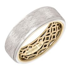 ArtCarved - Men's wedding band with geometric pattern, wire finish and flat… Bridal Rings, Wedding Ring Bands, Ring Stores, Wedding Men, Boat Wedding, Wedding Stuff, Art Carved, Outside Wedding, Quality Diamonds