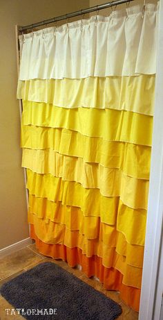 Seriously cute DIY shower curtain! But i want to do a different color not yellow