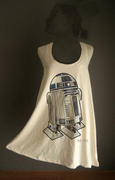 Retro R2D2 Robot Star wars White Organic Cotton T-Shirt Tee Tank Top Tunic Vest Size M/L. $13.00, via Etsy.