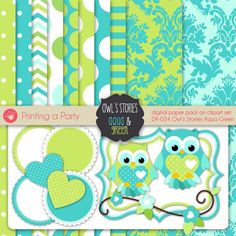 Digital Paper Pack and Clipart Owls Stories Aqua by Printingaparty, $5.00