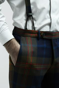 Tartan trousers and suspenders - made in Italy with love - 10A.it