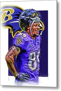 Steve Smith Sr Baltimore Ravens Oil Art Metal Print by Joe Hamilton 9ec1866109