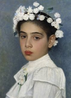 """Girl with flowers in her hair,"" Isidor Kaufmann (1853-1921)"