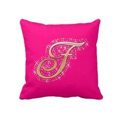 Shop Golden Letter J - Pillow created by uniqueprincess. Pink Pillows, Cute Pillows, Decorative Throw Pillows, M Letter, Blue Fairy, Decorating Your Home, Your Design, Initials, Diamonds